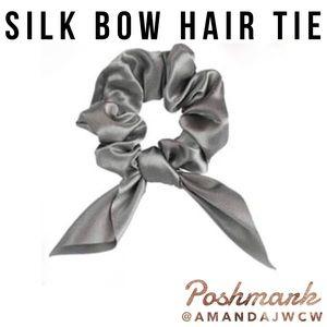 Silk Bow Hair Tie Scrunchie - Deep Silver